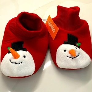 GYMBOREE SNOWMAN YOUTH 2-3 SLIPPERS NEW